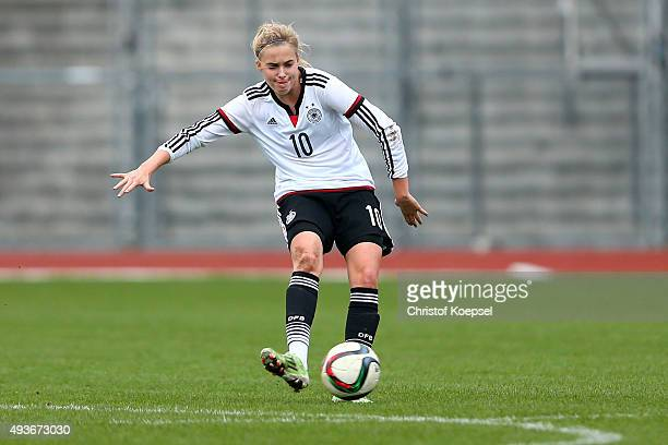 Laura Freigang of Germany runs with the ball during the Women's International Friendly match between U20 Germany and U20 Sweden at Auestadion on...