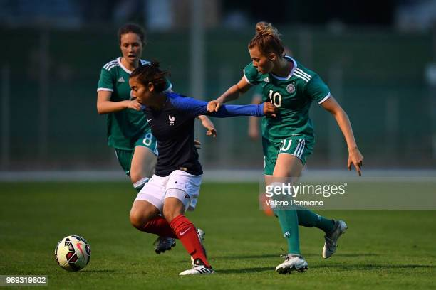 Laura Freigang of U20 Women's Germany competes with Annahita Zamanian of U20 Women's France during the Four Nations Tournament match between U20...