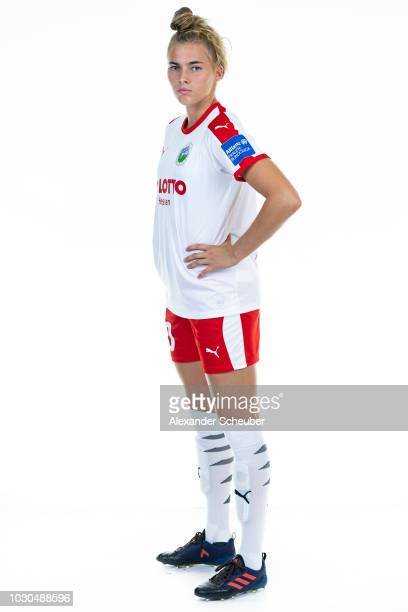 Laura Freigang poses during the 1 FFC Frankfurt Women's team presentation on September 7 2018 in Frankfurt am Main Germany