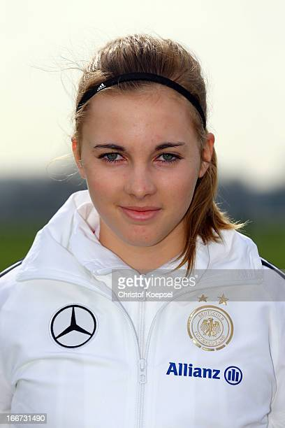 Laura Freigang poses during the Germany Girl's U15 team presentation at Sport Ground Scholten on April 16 in Kevelaer Germany