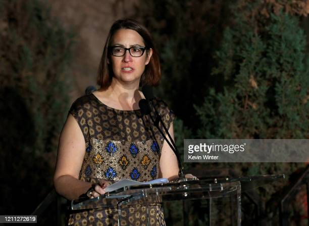 """Laura Friedman speaks onstage at the """"Meet Me In Australia"""" event benefiting Australia Wildlife Relief Efforts at Los Angeles Zoo on March 08, 2020..."""