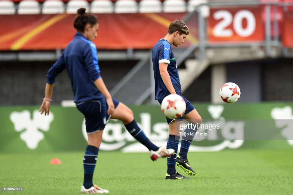 Laura Fusetti and Elena Linari of Italy women's national team takes part in a training session during the UEFA Women's EURO 2017at Sparta Stadion Het Kasteel on July 16, 2017 in Rotterdam, Netherlands.