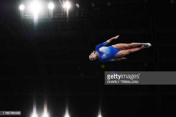 Laura Gallagher of Britain competes during the World Trampoline Gymnastics Championships at the Ariake Gymnastics Centre in Tokyo on December 1, 2019.