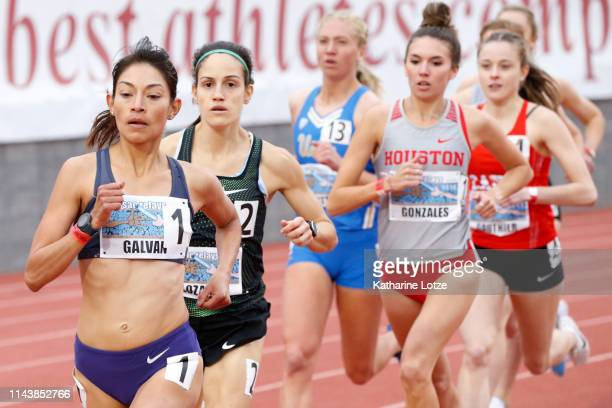 Laura Galvan leads the pack in the first section of the women's 1500 meter run on the first day of the 61st Mt SAC Relays at Murdock Stadium at El...