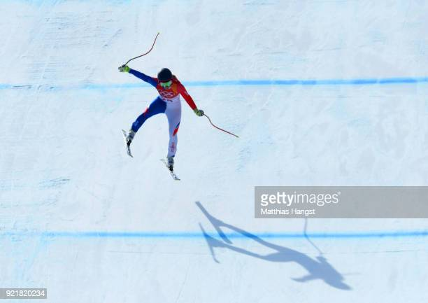 Laura Gauche of France competes during the Ladies' Downhill on day 12 of the PyeongChang 2018 Winter Olympic Games at Jeongseon Alpine Centre on...