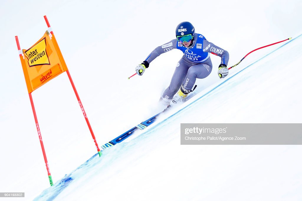 Laura Gauche of France in action during the Audi FIS Alpine Ski World Cup Women's Downhill Training on January 12, 2018 in Bad Kleinkirchheim, Austria.