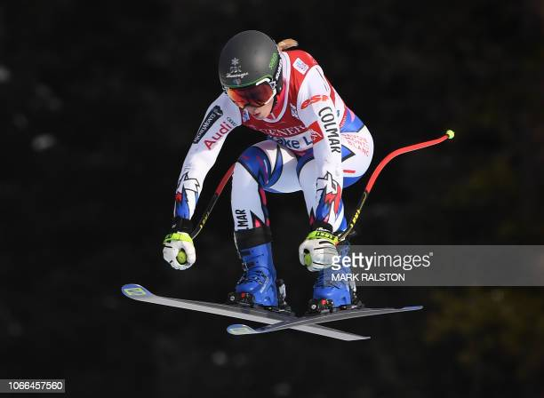TOPSHOT Laura Gauche of France launches off Claire's Corner during the third training run of the Audi FIS Alpine Ski World Cup Women's 2019 Downhill...