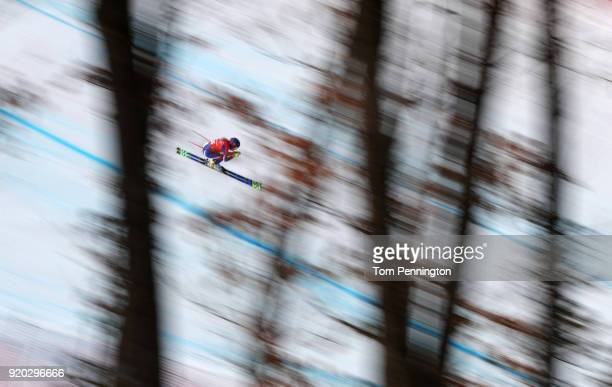 Laura Gauche of France makes a run during Alpine Skiing Ladies' Downhill Training on day 10 of the PyeongChang 2018 Winter Olympic Games at Jeongseon...