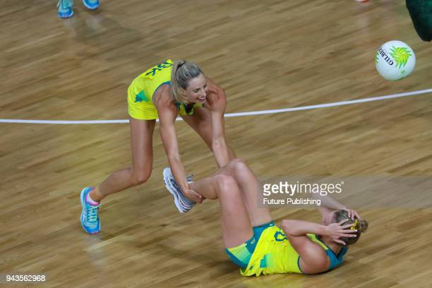 Laura GEITZ AUS and Gabi SIMPSON bump into each other as Australia play South Africa in the Women Pool A Netball on April 8th 2018