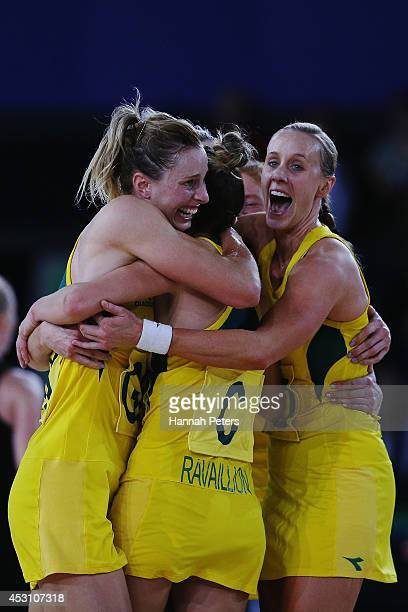 Laura Geitz Kimberley Ravaillion and Renae Hallinan of Australia celebrate winning the gold medal match between Australia and New Zealand at SECC...