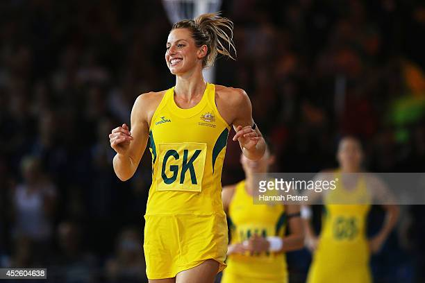 Laura Geitz of Australia runs out for the Preliminary Round Group B match between Australia and Wales at SECC Precinct during day one of the Glasgow...
