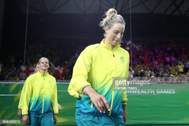 Laura Geitz of Australia shows her emotion following the Netball Gold Medal Match on day 11 of the Gold Coast 2018 Commonwealth Games at Coomera...