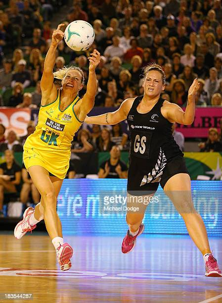 Laura Geitz of the Diamonds intercepts the ball against Catherine Latu of the Ferns during the Constellation Cup match between the Australian...