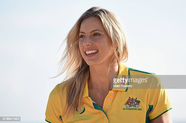 Laura Geitz speaks to fans on the beach during the Official Reveal of GC2018 Mascot and Two Years to Go Celebrations at Burleigh Heads Beach on April...