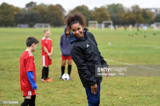 Laura Georges reacts during FIFA Legends Fan Activity as part of The Best FIFA Football Awards at Clapham Common on September 22 2018 in London...