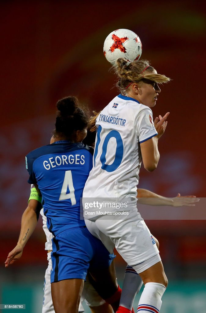 Laura Georges (L) of France and Dagný Brynjarsdóttir of Iceland head for the ball during the Group C match between France and Iceland during the UEFA Women's Euro 2017 at Koning Willem II Stadium on July 18, 2017 in Tilburg, Netherlands.