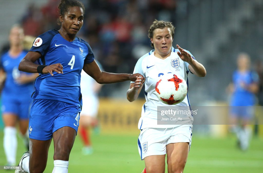 Laura Georges of France and Francesca Kirby of England during the UEFA Women's Euro 2017 quarter final match between England and France at Stadion De Adelaashorst on July 30, 2017 in Deventer, The Netherlands.