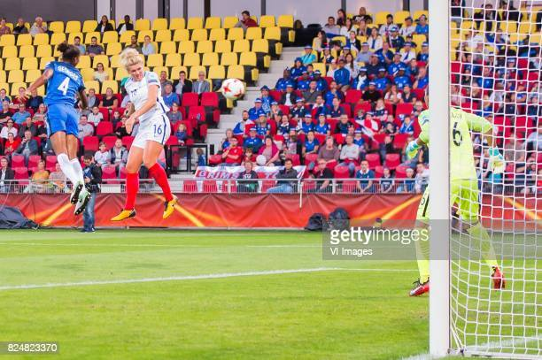 Laura Georges of France women Millie Bright of England women goalkeeper Sarah Bouhaddi of France women during the UEFA WEURO 2017 quarter finale...