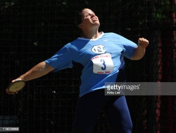 Laura Gerraughty of North Carolina won the women's discus in the 112th Penn Relays at the University of Pennsylvania's Franklin Field in Philadelphia...