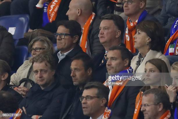 Laura Ghisi Fabio Capello Louis van Gaal Truus van Gaalduring the friendly match between Netherlands and Italy at the Amsterdam Arena on March 28...