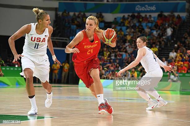 Laura Gil of Spain drives to the basket against Elena Delle Donne of the USA Women's National Basketball Team during the Gold Medal Game on Day 15 of...
