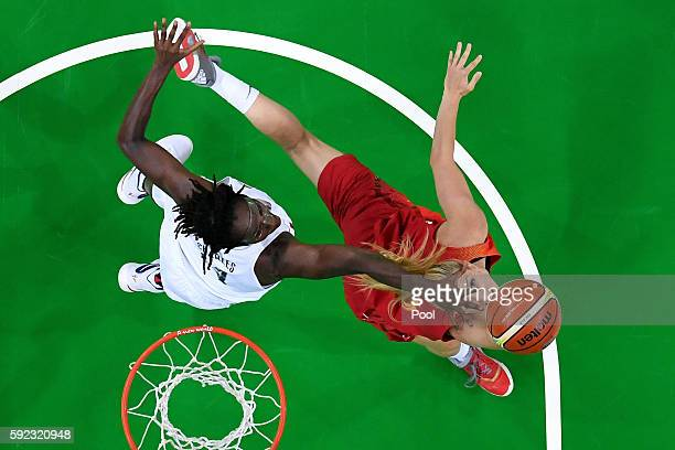 Laura Gil of Spain goes to the basket against Tina Charles of United States during the Women's Gold Medal Game between United States and Spain on Day...