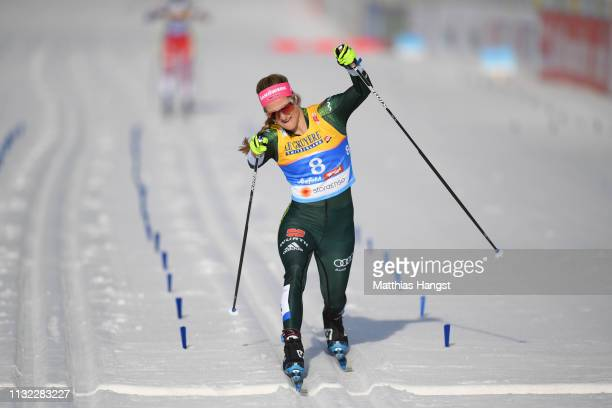 Laura Gimmler of Germany crosses the finish line during the CrossCountry Women's 10k race of the FIS Nordic World Ski Championships at Langlauf Arena...