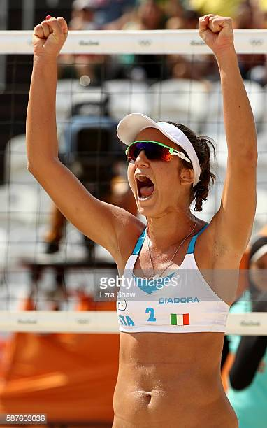 Laura Giombini of Italy celebrates during the Women's Beach Volleyball Preliminary Pool A match against Nada Meawad and Doaa Elghobashy of Egypt on...