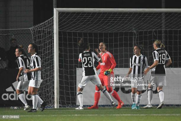 Laura Giuliani celebrates after stopping a penalty kick during the match between Juventus Women and ASG Verona Women at Juventus Center Vinovo on...
