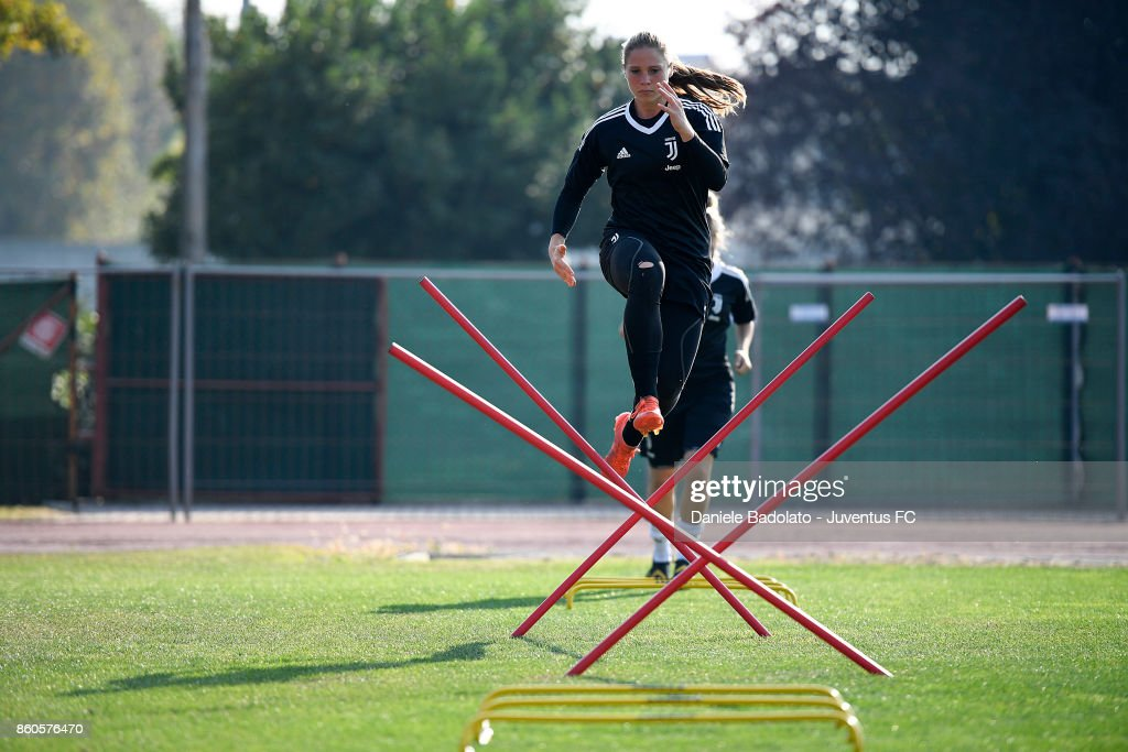 Laura Giuliani during a Juventus Women training session on October 12, 2017 in Turin, Italy.
