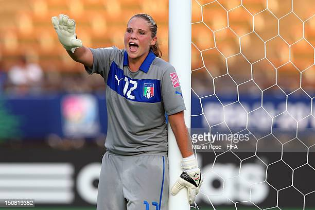 Laura Giuliani goalkeeper of Italy gestures during the FIFA U20 Women's World Cup 2012 group B match between Italy and Nigeria at Kobe Universiade...