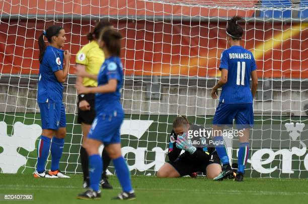 Laura Giuliani goalkeeper of Italy shows his dejection after substaining a goal during the UEFA Women's Euro 2017 Group B match between Germany and...