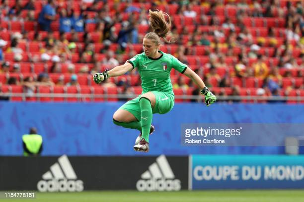 Laura Giuliani of Italy celebrates after her team's second goal during the 2019 FIFA Women's World Cup France group C match between Australia and...