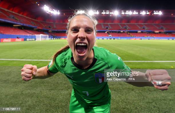 Laura Giuliani of Italy celebrates following the 2019 FIFA Women's World Cup France group C match between Italy and Brazil at Stade du Hainaut on...