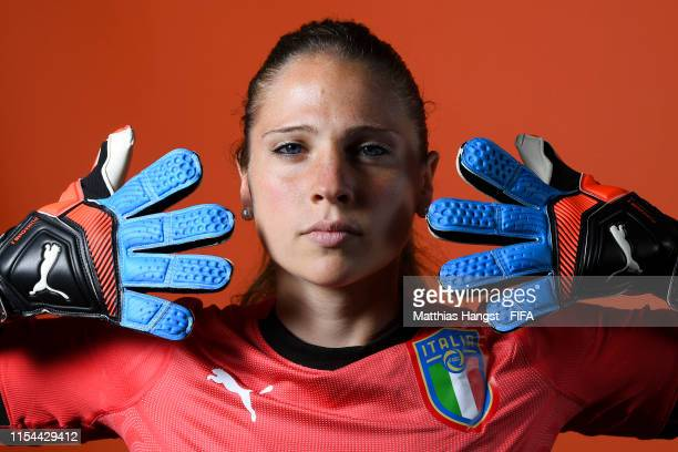 Laura Giuliani of Italy poses for a portrait during the official FIFA Women's World Cup 2019 portrait session at Royal Hainaut Spa Resort Hotel on...
