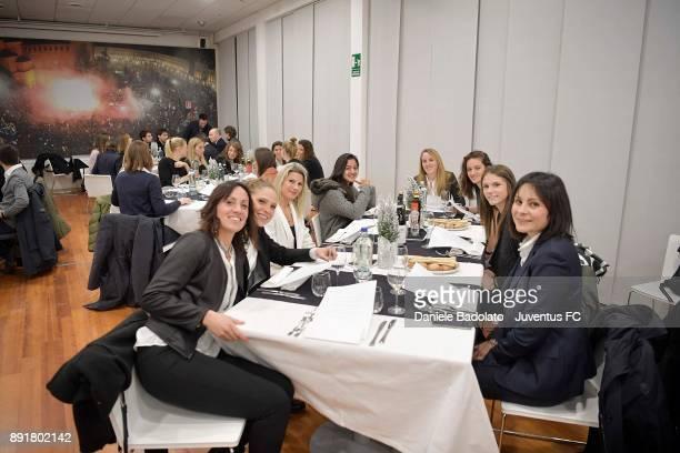 Laura Giuliani Simona Sodini Vanessa Panzeri Valentina Cernoia Martina Lenzini and Cecilia Salvai during the Juventus Women Christams Dinner at...