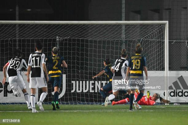Laura Giuliani stops a penalty kick during the match between Juventus Women and ASG Verona Women at Juventus Center Vinovo on November 4 2017 in...