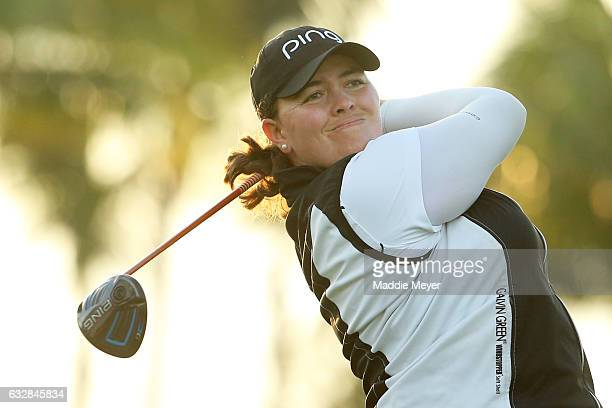 Laura Gonzalez Escallon of Belgium hits a tee shot on the second hole during round two of the Pure Silk Bahamas LPGA Classic on January 27 2017 in...