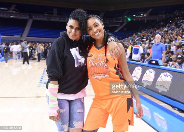 Laura Govan and Brittney Elena attend Monster Energy Outbreak Presents $50K Charity Challenge Celebrity Basketball Game at UCLA's Pauley Pavilion on...