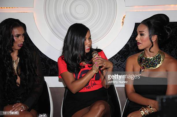 Laura Govan radio and TV personality Angela Yee and Gloria Govan attend the 'Basketball Wives LA' Season 2 Premiere at Suite 55 on September 10 2012...