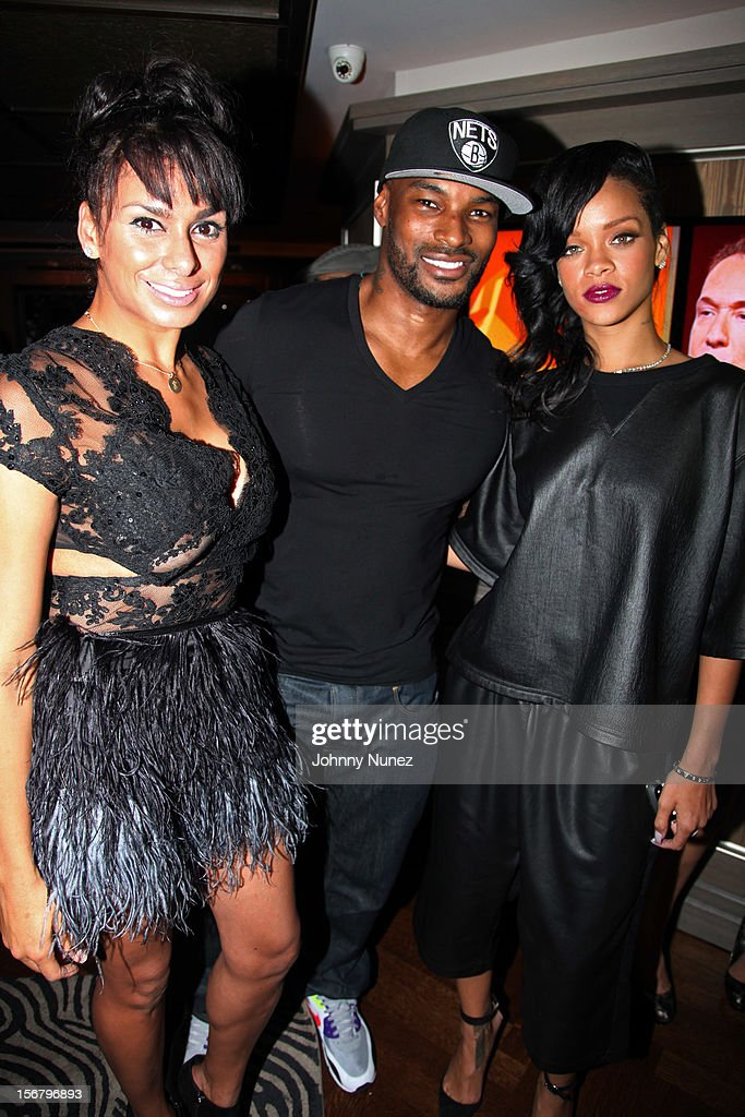Laura Govan, Tyson Beckford, and Rihanna attend Rihanna's 'Unapologetic' Record Release Party at 40 / 40 Club on November 20, 2012 in New York City.