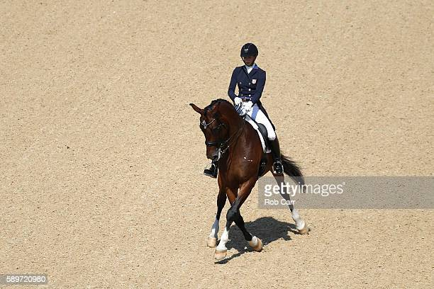 Laura Graves of the United States riding Verdades competes in the Dressage Individual Grand Prix Freestyle on Day 10 of the Rio 2016 Olympic Games at...