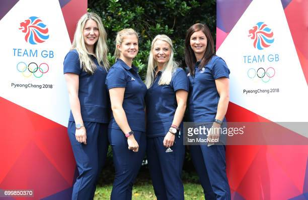 Laura GrayVicki Adams Anna Sloan and Eve Muirhead pose for photographs after being amongst the first athletes selected to represent Great Britain at...