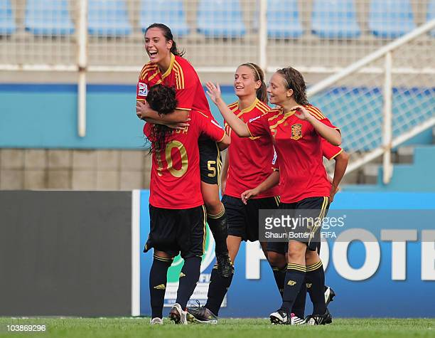 Laura Gutierrez of Spain celebrates after scoring during the FIFA U17 Women's World Cup Group C match between Spain and Japan at the Ato Boldon...