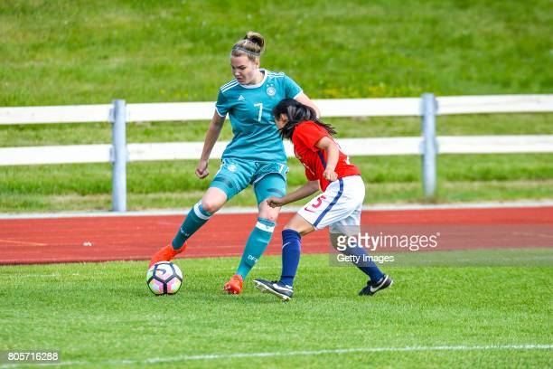 Laura Haas of Germany challenges Anna Lan Meland Lysebo of Norway during the Nordic Cup 2017 match between U16 Girl's Germany and U16 Girl's Norway...