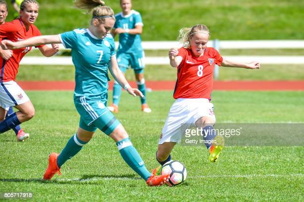 Laura Haas of Germany challenges Julie Blakstad of Norway during the Nordic Cup 2017 match between U16 Girl's Germany and U16 Girl's Norway on July 2...