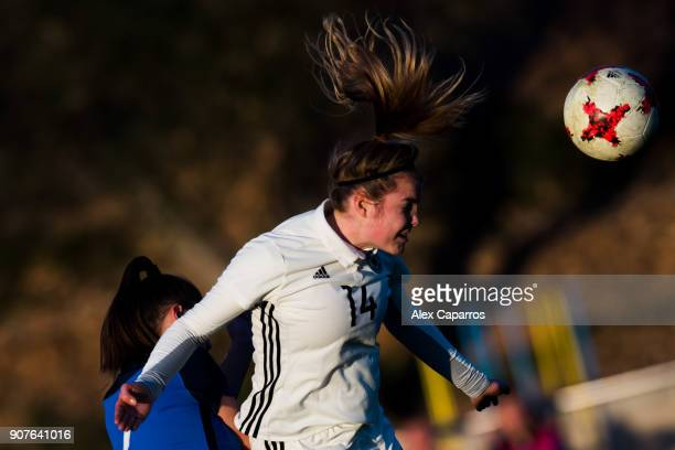 Laura Haas of Germany heads the ball during the U17 girl's international friendly match between Germany and France on January 20 2018 in Salou Spain