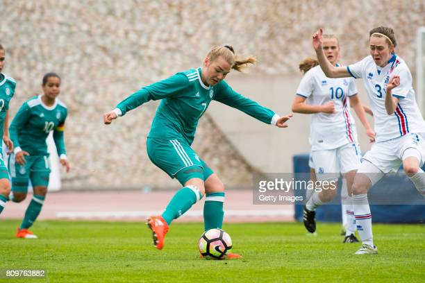 Laura Haas of Germany scores the opening goal during the Nordic Cup 2017 match between U16 Girl's Germany and U16 Girl's Iceland on July 6 2017 in...
