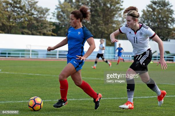 Laura Haas of Germany U16 Girls challenges Celya Barclais of France U16 Girls during the match between U16 Girls Germanyl v U16 Girls France on the...