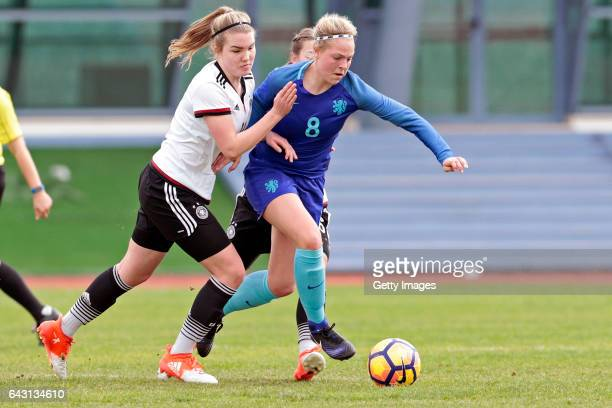 Laura Haas of Germany U16 Girls challenges Jill Baijings of Netherlands U16 Girls during the match between U16 Girls Germany v U16 Girls Netherlands...